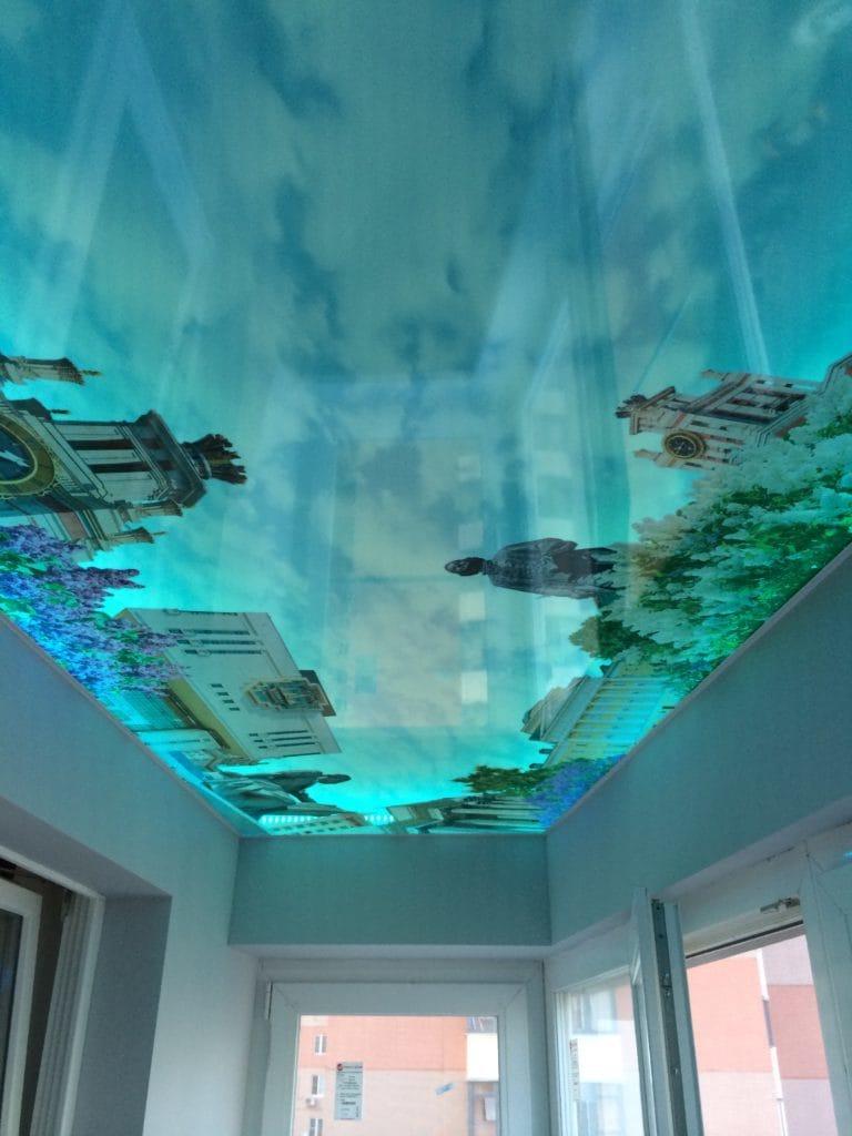 Натяжные потолки с подсветкой с фотопечатью 3D