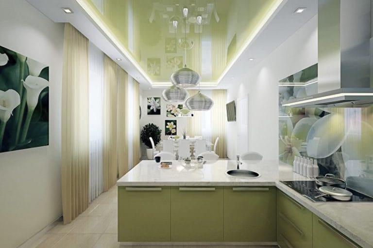 Натяжные потолки глянцевые двухуровневые для кухни