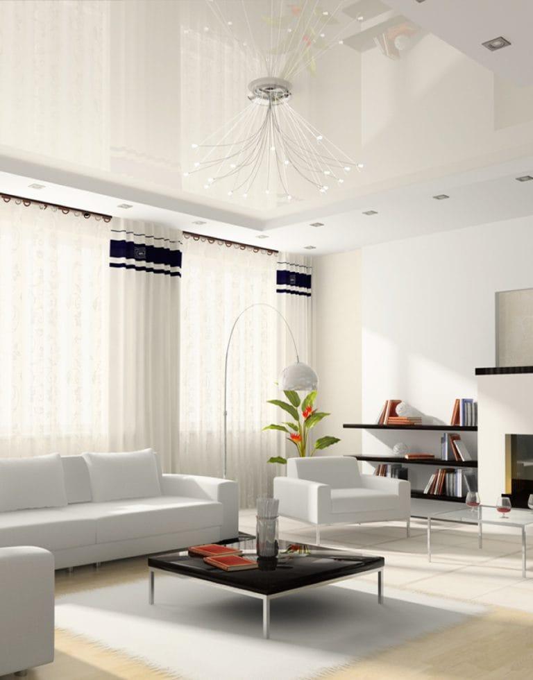 Натяжные потолки для зала белые глянцевые